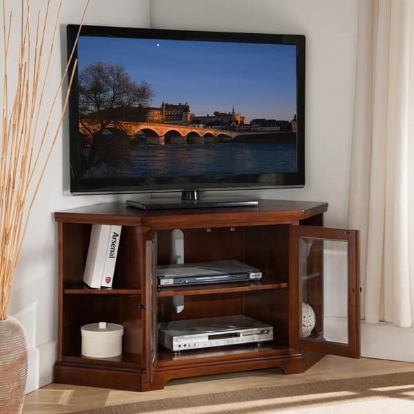 Awesome Fashionable Corner TV Stands For 46 Inch Flat Screen For Westwood Cherry 46 Inch Corner Tv Stand With Bookcases Free (View 35 of 50)