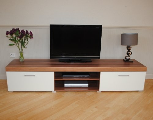 Awesome Fashionable Large TV Cabinets Intended For 2 Metre White Walnut Sydney 2 Door Tv Cabinet Extra Large Unit (View 47 of 50)