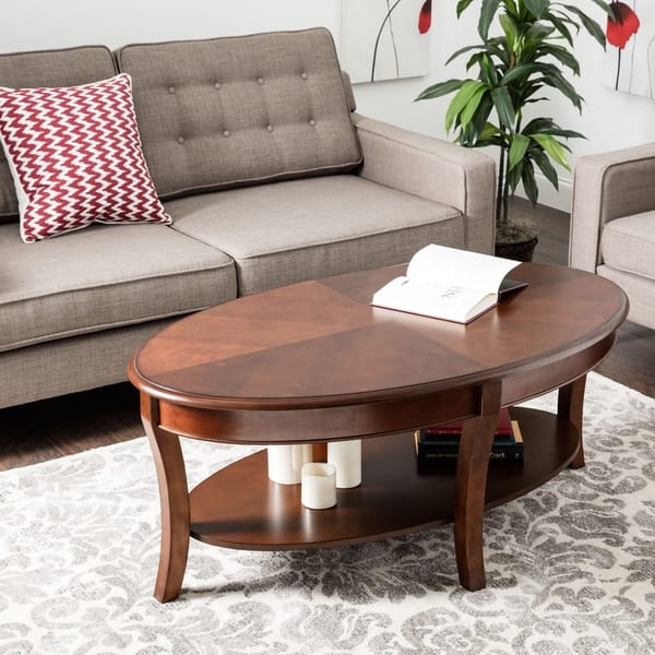 Awesome Fashionable Oval Walnut Coffee Tables Throughout Oval Walnut Coffee Table Free Shipping Today Overstock (Image 5 of 50)