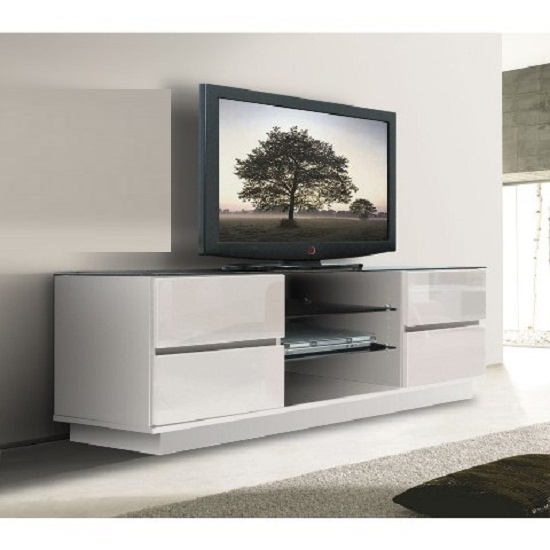 Awesome Fashionable Plasma TV Stands For Plasma Lcd Tv Stand In White With Gloss Drawers  (Image 6 of 50)
