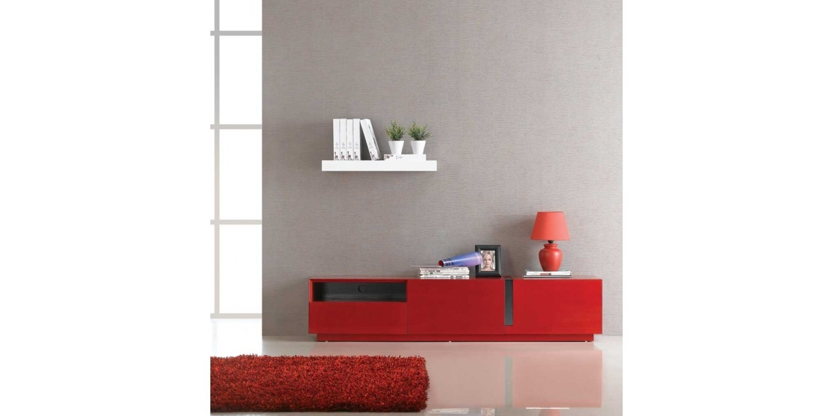 Awesome Fashionable Red Modern TV Stands Intended For Red Lacquer Finish Modern Tv Stand Tv (Image 2 of 50)