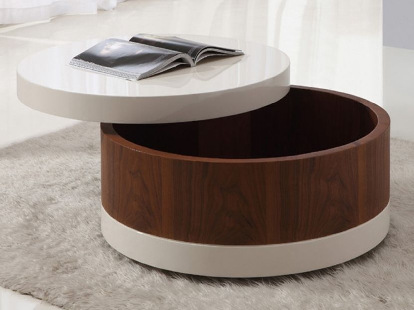 Awesome Fashionable Round Coffee Tables With Drawer With Regard To Round Table With Drawer Starrkingschool (Image 3 of 50)