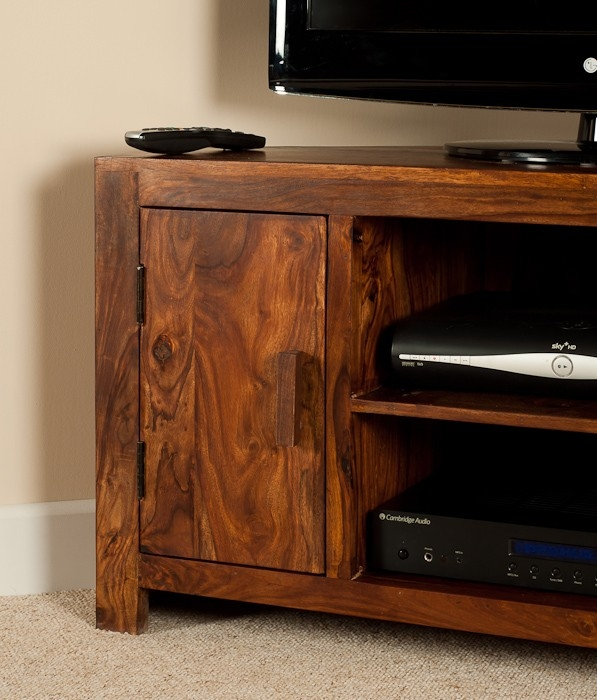 Awesome Fashionable Sheesham Wood TV Stands Regarding Solid Sheesham Wood Television Stand Corner Tv Unit Casa Bella (View 2 of 50)
