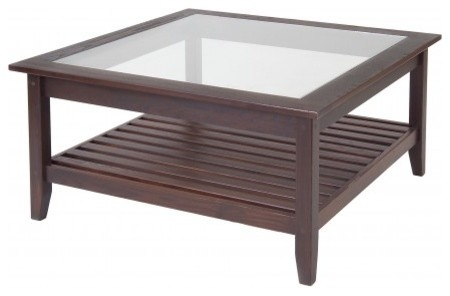 Awesome Fashionable Square Dark Wood Coffee Table For Coffee Table Glass Top Wood Coffee Table Standard Furniture (Image 5 of 40)