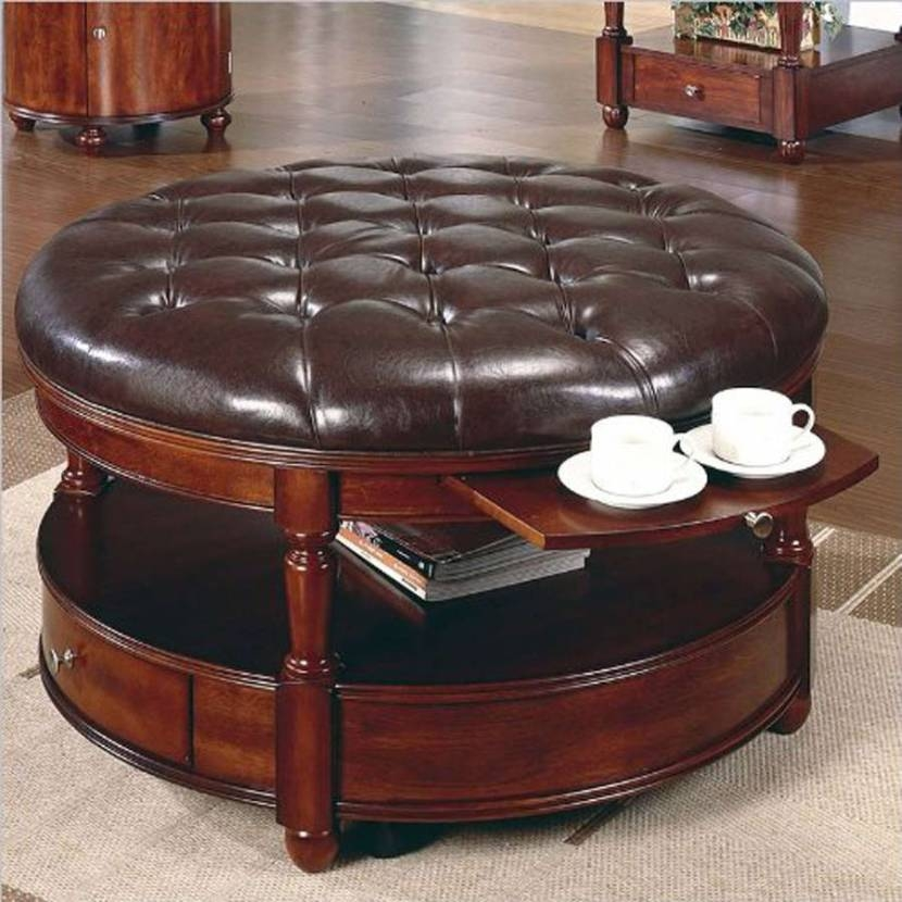 Awesome Favorite Brown Leather Ottoman Coffee Tables With Storages Throughout Small Round Coffee Table With Storage Starrkingschool Jericho (Image 5 of 40)