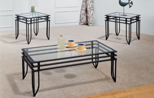 Awesome Favorite Glass And Metal Coffee Tables Throughout Amazon 3pcs Coffeeend Tabel Set Kitchen Dining (Image 9 of 50)