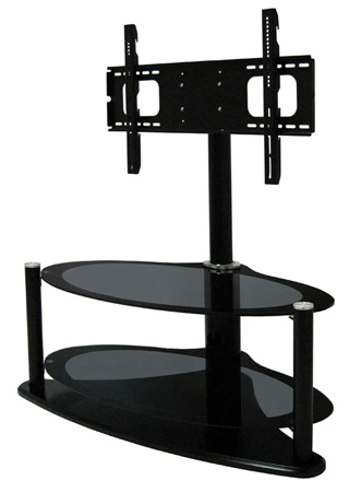Awesome Favorite Oval Glass TV Stands Throughout Zin421459hyb Universal Hybrid Oval Bolt On Glass Tv Stand For (Image 4 of 50)