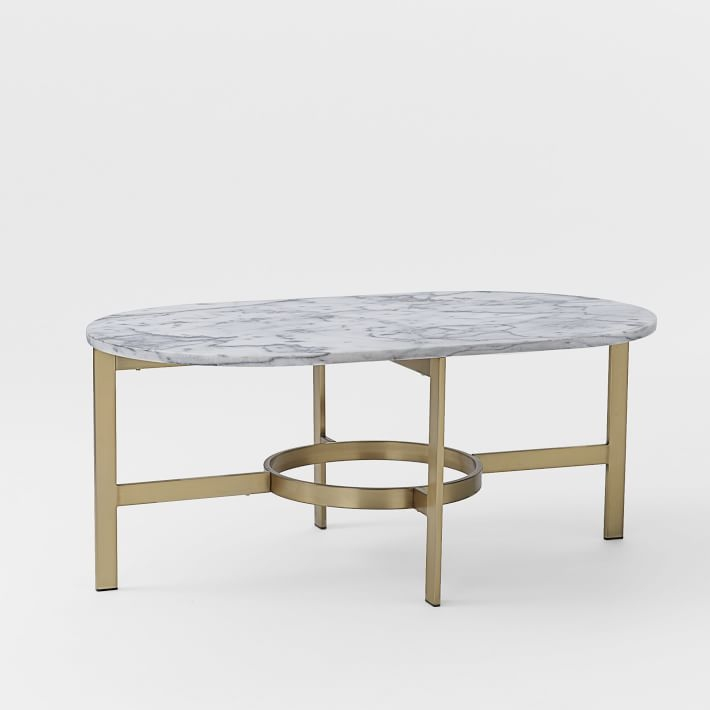 Awesome Favorite Small Marble Coffee Tables Pertaining To Marble Oval Coffee Table West Elm (Image 5 of 50)