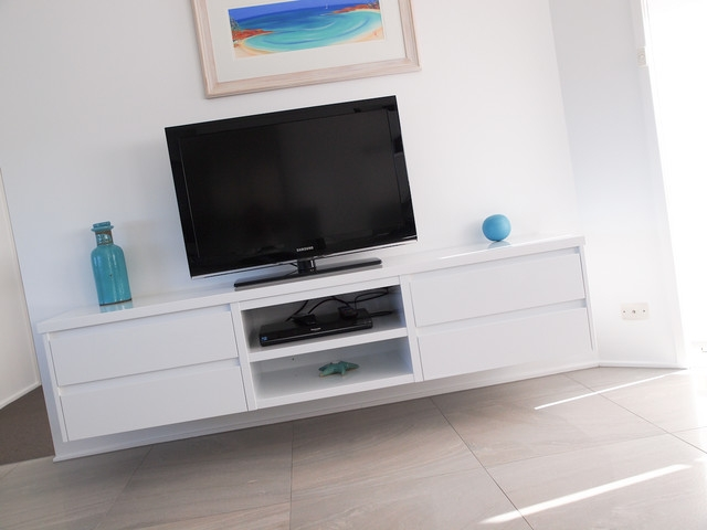 Awesome Favorite White TV Cabinets Inside White Gloss Polyurethane Floating Tv Cabinet With Shadowline Drawers (View 40 of 50)