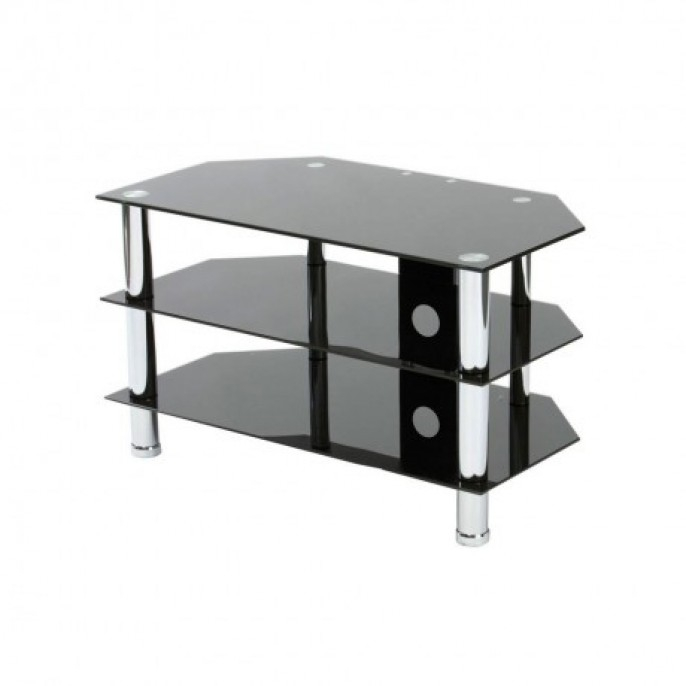 Awesome High Quality Black Glass TV Stands Regarding Black Glass 3 Shelf Tv Stand Poundstretcher (View 2 of 50)