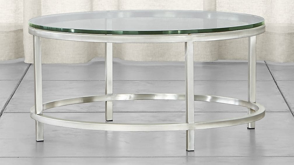 Awesome High Quality Circular Glass Coffee Tables Pertaining To Era Round Glass Coffee Table Crate And Barrel (Image 4 of 50)