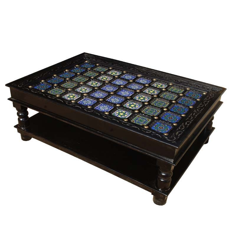Awesome High Quality Heritage Coffee Tables With Regard To Pastel Tile Hand Painted Coffee Table (Image 6 of 50)