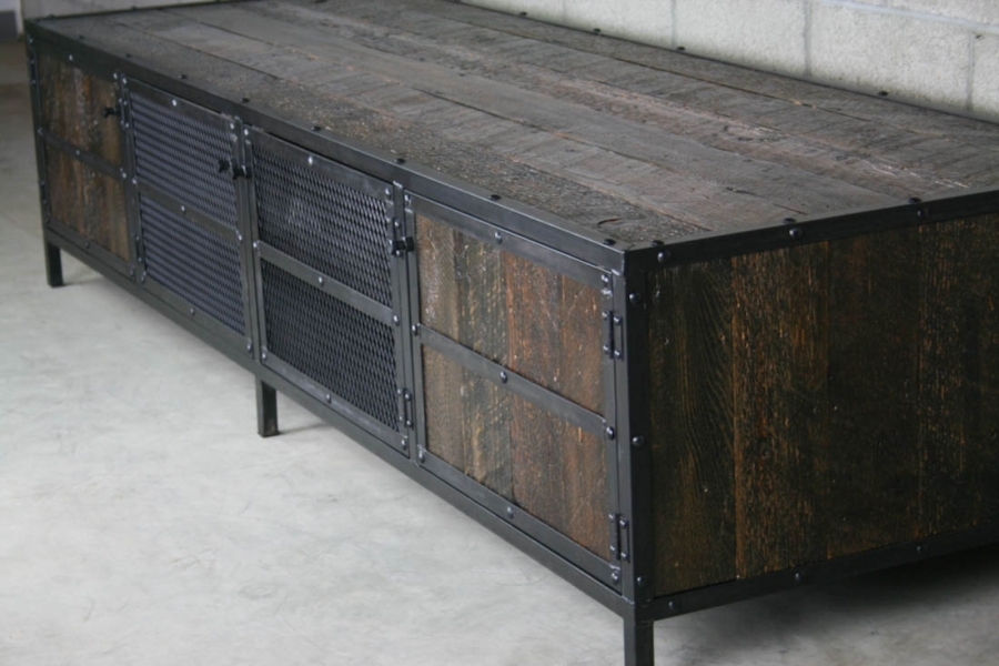 Awesome High Quality Industrial Metal TV Cabinets Inside Combine 9 Industrial Furniture Old Barnwood Furniture Combine (Image 7 of 50)