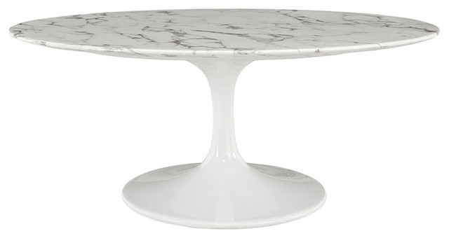 Awesome High Quality Oval White Coffee Tables Pertaining To Lippa Oval Faux Marble Coffee Table White Midcentury Coffee (Image 7 of 50)