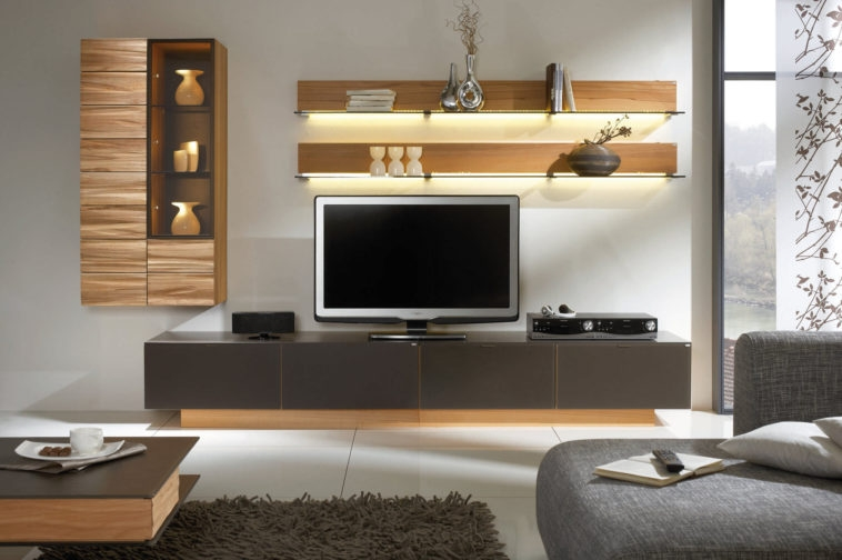 Awesome High Quality Wall Mounted TV Stands With Shelves Within Furniture Dark Stained Wood Tv Stand With Shelf Combined Wall (Image 5 of 50)