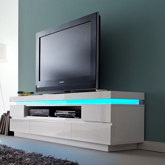 Awesome High Quality White Gloss TV Stands With Drawers Intended For Odessa 5 Drawer Lowboard Tv Stand In High Gloss White With Led (Image 3 of 50)
