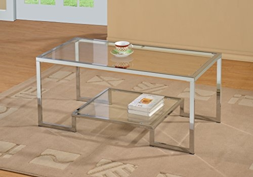 Awesome Latest Coffee Tables Metal And Glass In Amazon Chrome Metal Glass Accent Coffee Cocktail Table With (Image 4 of 40)