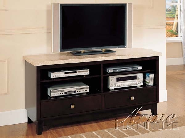Awesome Latest Espresso TV Cabinets Throughout Espresso White Marble Top Tv Stand Am17093 Lowest Price Sofa (Image 6 of 50)