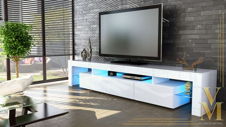 Awesome Latest Glossy White TV Stands With New White High Gloss Tv Stand Media Entertainment Center Lima V (Image 5 of 50)