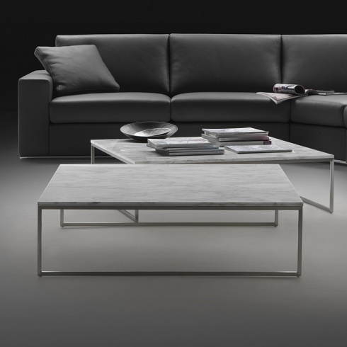 Awesome Latest Marble And Metal Coffee Tables Pertaining To Porto Square Marble Coffee Table Chrome (Image 9 of 40)
