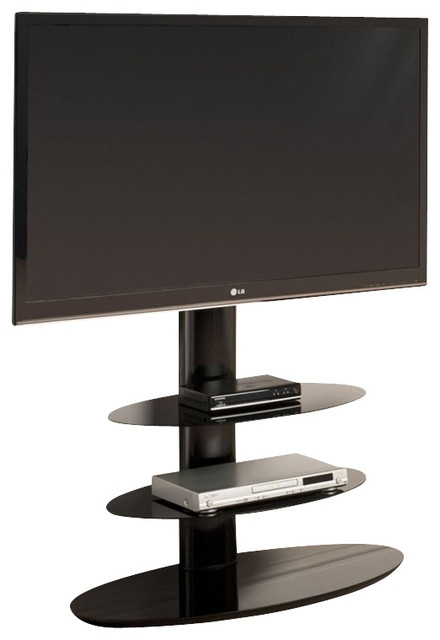 Awesome Latest Ovid TV Stands Black Throughout Tech Link Strata Three Shelf Pedestal Tv Stand In Black (Image 6 of 50)