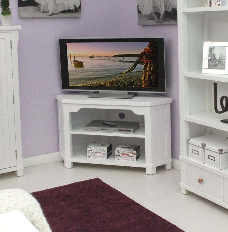 Awesome Latest Painted Corner TV Cabinets Inside Bedroom White Painted Wooden Tv Stand Furnished With Curved Edge (Image 9 of 50)
