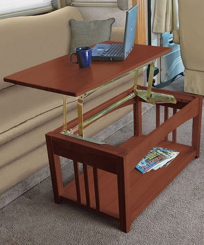 Awesome Latest Swing Up Coffee Tables Within Multipurpose Lift Top Rv Coffee Table That Is Just Right For The Rv (Image 7 of 40)