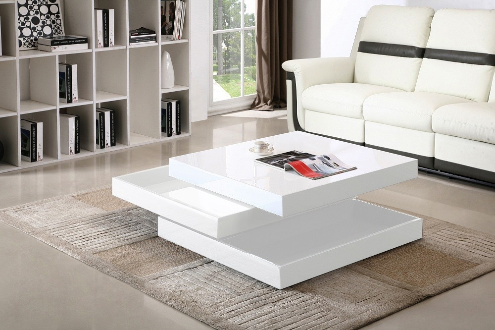 Awesome Latest White High Gloss Coffee Tables Throughout Square White Coffee Table (Image 7 of 50)