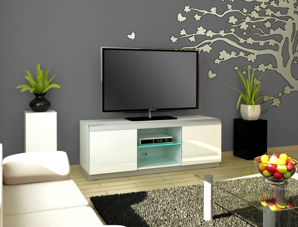 Awesome Latest White High Gloss TV Stands Unit Cabinet Intended For Tv Stands Glamorous White High Gloss Tv Stand 2017 Design Black (Image 3 of 50)