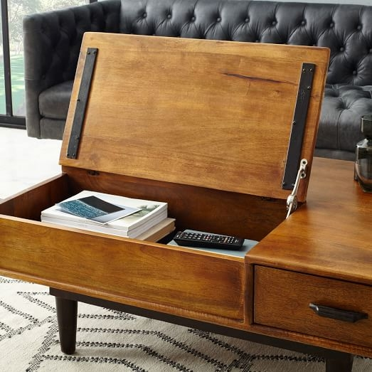 Awesome Latest Wooden Storage Coffee Tables Pertaining To Lars Mid Century Storage Coffee Table West Elm (Image 5 of 50)