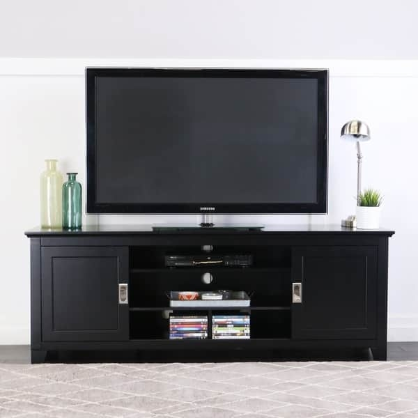 Awesome Latest Wooden TV Stands For Flat Screens Pertaining To Black 70 Inch Wood Tv Stand With Sliding Doors Free Shipping (Image 8 of 50)