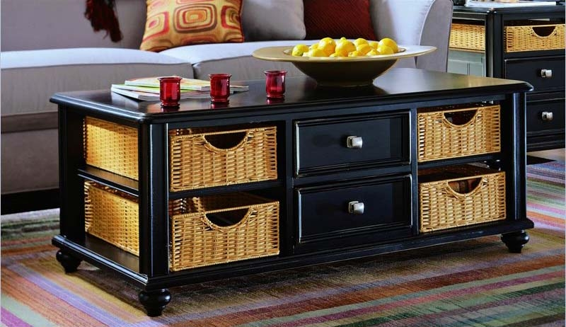 Awesome New Coffee Table With Wicker Basket Storage Within Coffee Table With Storage Baskets (Image 4 of 40)