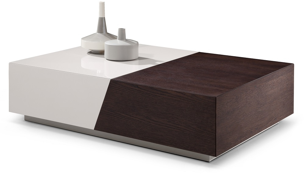 Awesome New Dark Coffee Tables Throughout Dual Finished White And Dark Oak Coffee Table With Pull Apart (Image 6 of 50)