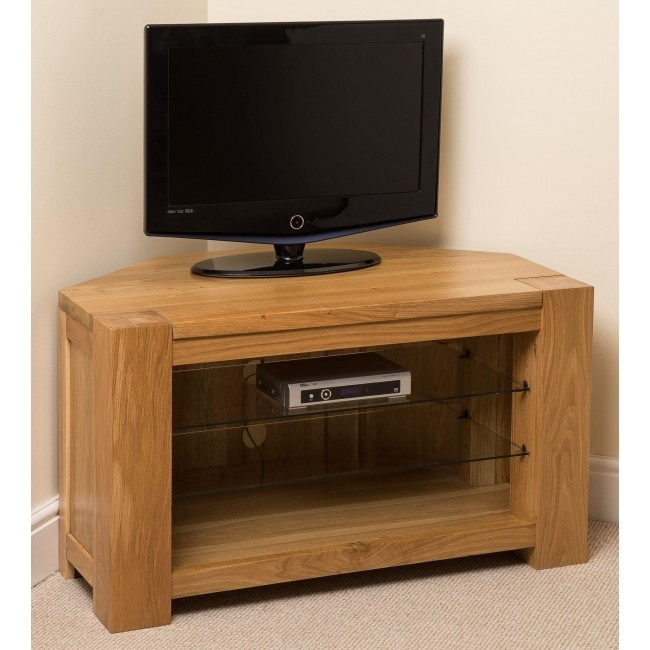 Awesome New Dark Wood Corner TV Cabinets With Regard To Kuba Solid Oak Corner Tv Cabinet Oak Furniture King (Image 7 of 50)