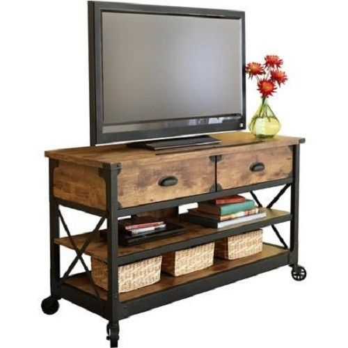Awesome New Metal And Wood TV Stands Inside Wood Tv Stand Metal Cart Wheels Living Room Entertainment Center (Image 3 of 50)
