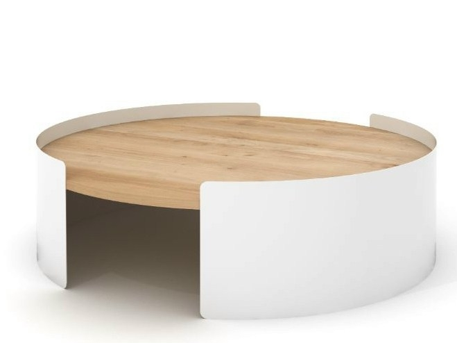 Awesome New Round Oak Coffee Tables Regarding Round Metal And Oak Coffee Table Moon Table Universo Positivo (View 15 of 40)