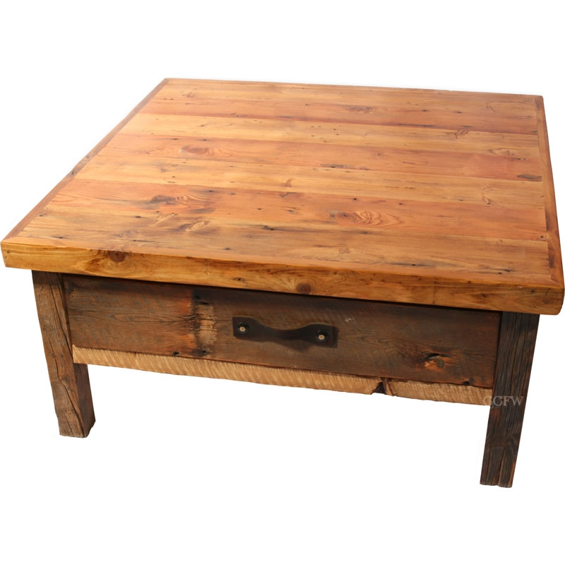 Awesome New Rustic Coffee Table Drawers Inside Magnificent Square Coffee Table With Drawers Design (Image 5 of 50)