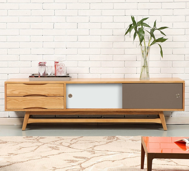 Awesome New Scandinavian TV Stands In Svend Entertainment Unit Solid Oak 180x45x50cm Whitegrey (Image 4 of 50)