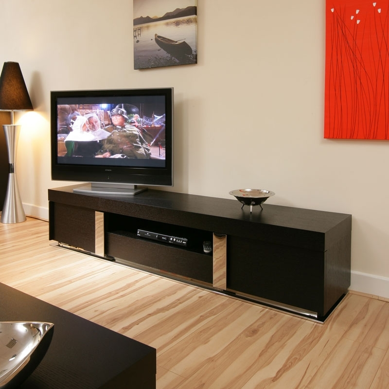 Awesome New Shiny Black TV Stands Within Amazing Of Long Black Tv Unit Designs Space 1600 Hybrid Gloss (Image 7 of 50)
