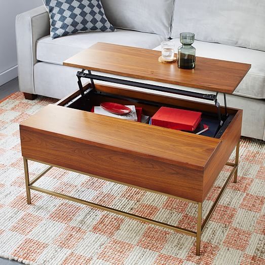 Awesome New Storage Coffee Tables Intended For Storage Coffee Table Walnutantique Brass West Elm (View 16 of 50)