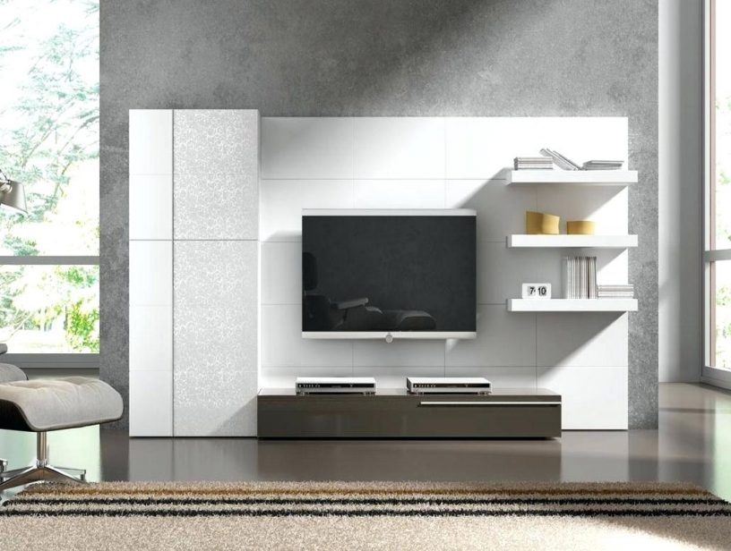 Awesome New TV Stand Wall Units For Beautiful Tv Stand Wall Unit Design Idea In White Finish With (Image 9 of 50)