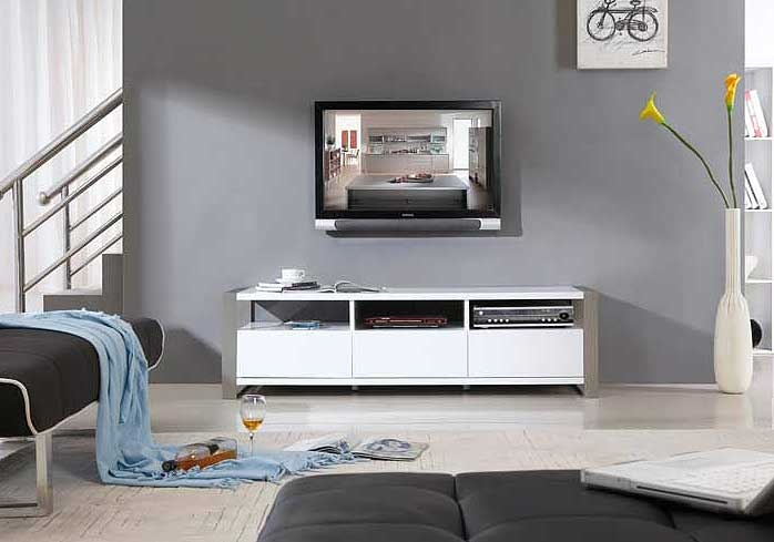 Awesome New White Contemporary TV Stands Pertaining To Modern White Tv Stand Bm4 Tv Stands (Image 9 of 50)