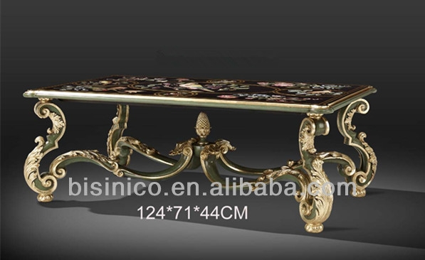 Awesome Popular Baroque Coffee Tables Intended For French Baroque Style Hand Carved Coffee Table With Floral Painting (View 41 of 50)