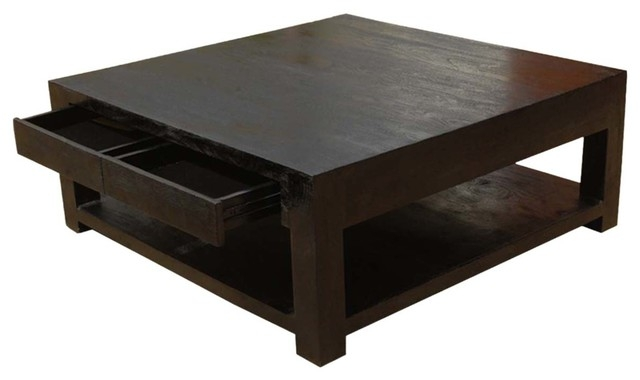 Awesome Popular Coffee Tables Solid Wood In Solid Wood Square Coffee Table Espresso Transitional Coffee (Image 10 of 50)