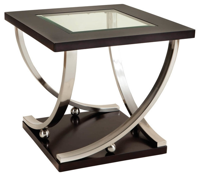 Awesome Popular Dark Wood Coffee Tables With Glass Top Throughout Melrose Square Glass Top End Table Dark Merlot Side Tables And (Image 6 of 50)