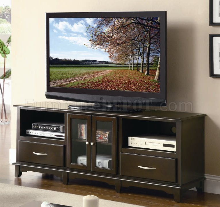 Awesome Popular Glass Front TV Stands Pertaining To Cappuccino Finish Modern Tv Stand Wglass Front Doors (Image 6 of 50)