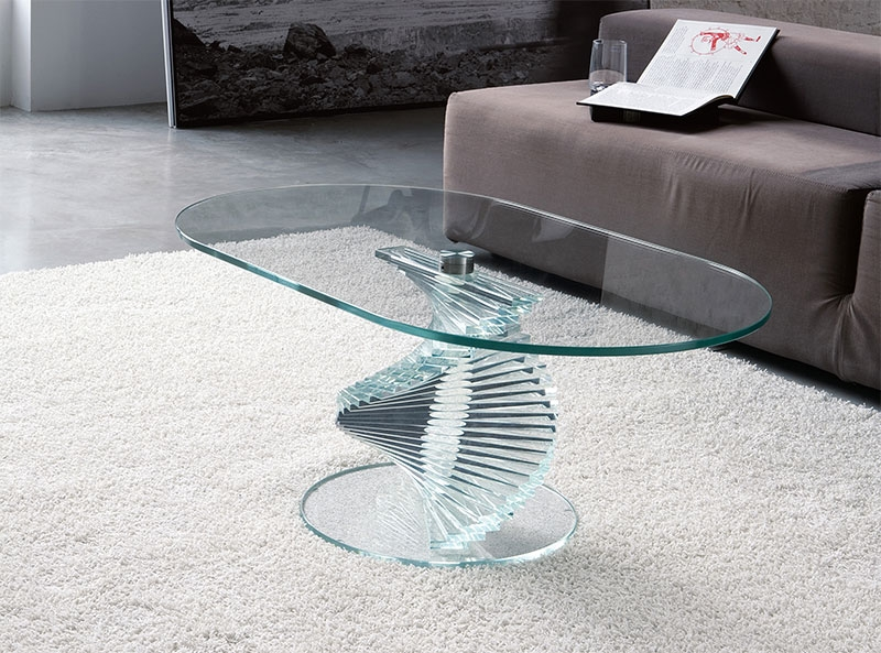 Awesome Popular Oval Glass And Wood Coffee Tables Inside Trendy And Modern Glass Oval Coffee Table (Image 8 of 50)