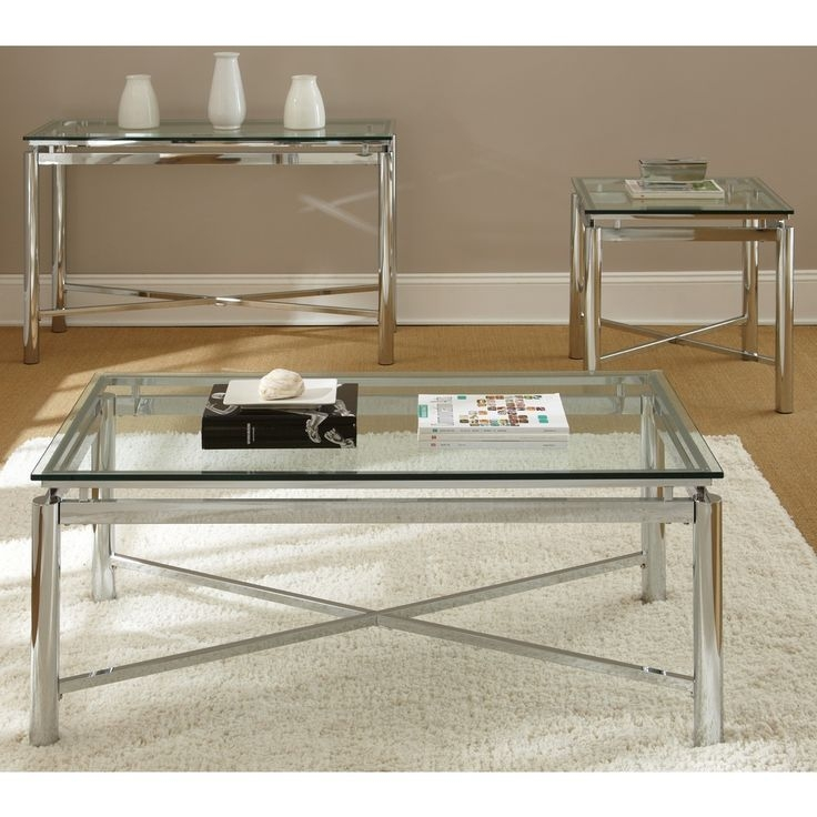 Awesome Popular Rectangle Glass Chrome Coffee Tables With Greyson Living Natal Chrome And Glass Coffee Table Greyson (Image 4 of 50)