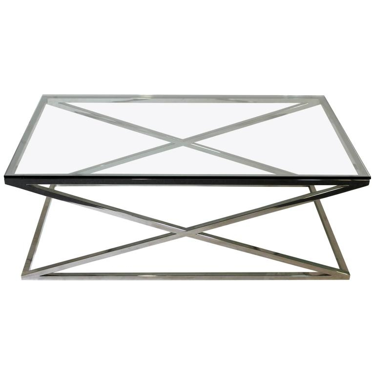 Awesome Popular Rectangle Glass Coffee Table Pertaining To Mid Century Modern Rectangular Glass Coffee Table Chrome X Base (View 28 of 50)