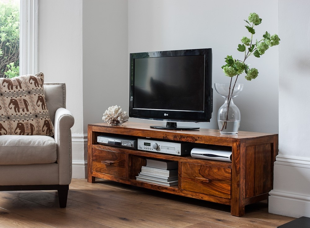 Awesome Popular Sheesham Wood TV Stands Regarding Large Solid Wood Media Center Casa Bella Furniture Uk (View 29 of 50)